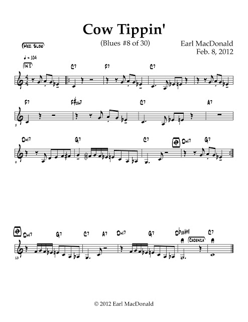 """The sheet music for """"Cow Tippin,"""" a piece of music composed by jazzman, Earl MacDonald."""