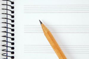 music paper and pencil