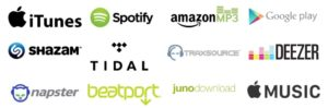 Logos for the various online music streaming and downloading companies.