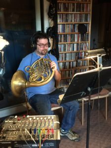 """Alex Gertner overdubbing French horn parts for the Earl MacDonald recording project, """"Consecrated."""""""